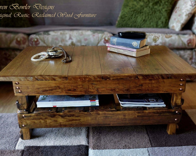 FREE UK SHIPPING Bespoke Country Cottage Rustic Reclaimed Wood Coffee Table Medium Oak Stain Copper Tacks Undershelf Storage