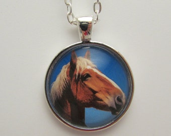 Glass Horse Photo Pendant, Horse Necklace, Horse Jewelry, Glass Photo Jewelry, Photo Necklace, Glass Horse Charm Necklace, Mother's Day Gift