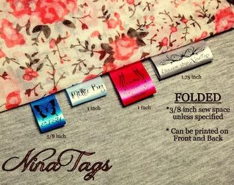 1000 FOLDED Custom Satin Clothing Labels -Fabric Garment Tags - NinaTags