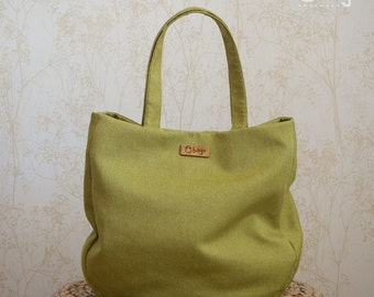 Everyday tote bag / oversized bag / casual bag / shoulder bag / textile bag / GREENERY color