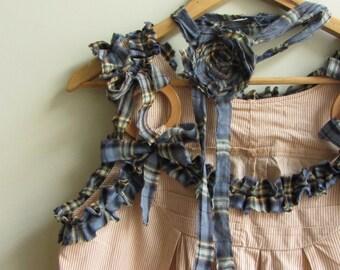Mori girl dress Forest girl clothing Striped ruffle tunic Upcycled clothing Tumblr aesthetic clothing Mori kei Japanese fashion Ecofashion