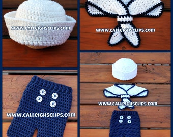 Instant Download Crochet Pattern No. 104 - Ship Shape Sailor Set