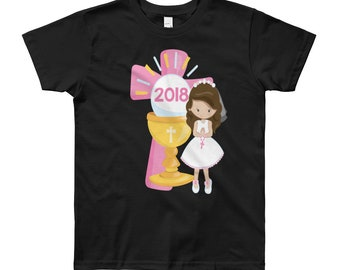 First Communion Shirt Kids 2018 Hispanic Girl Pink Cross Veil Rosary Chalice Catholic Keepsake Gift Daughter Ages 8-12