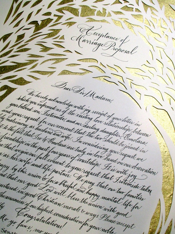 Set Of Two Nigerian Wedding Proposal And Acceptance Letters