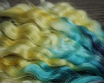 """12"""" 1/2oz+ RETRO RUMBA hand dyed angora locks washed and combed doll hair for reroot wig bjd, Blythe, Minifee, msd, reborn, Waldorf doll"""