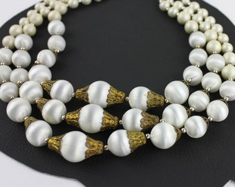 Vintage Satin Ivory & Brass Beaded Multi Strand Necklace
