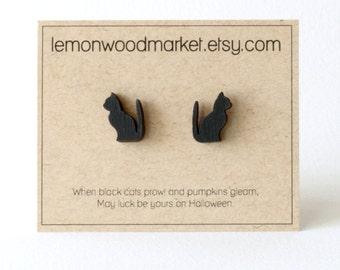 Black cat earrings - alder laser cut wood earrings - Halloween earrings