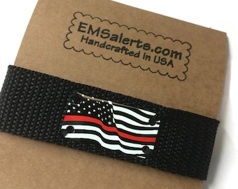 Firefighter dad gift, Thin Red line bracelet with American flag for men, Everyday jewelry for husband or boyfriend, Adjustable cuff