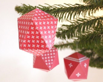 paper christmas decoration, diy holiday decoration, paper ornament, jewel, crystal template, instant download