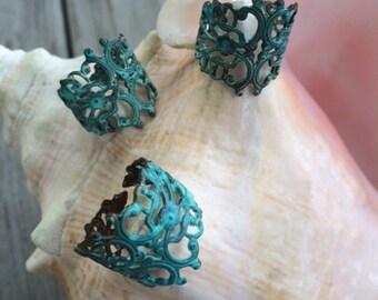 Beautiful Patina Filigree Brass Ring