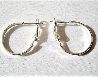"1 1/8"" Flat Band Hoops Pierced Earrings Silver Tone Vintage Large Round Open Support Clips Ring"