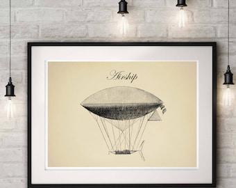 Steampunk Airship, Dirigible Airship, Industrial Print, Wall Art Poster, Airship Decor Antique Print, Air balloon Decor, Blueprint
