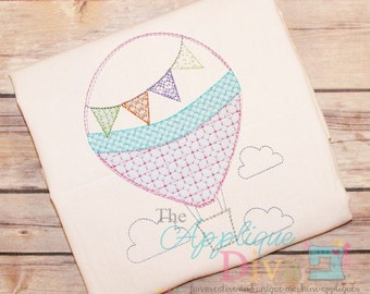 Summer Vintage Hot Air Balloon Digital Embroidery Design Machine Applique