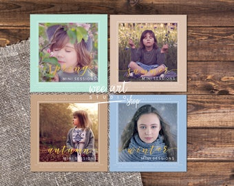 Gold Set for Seasons Mini Sessions Template for Photographers 5x5