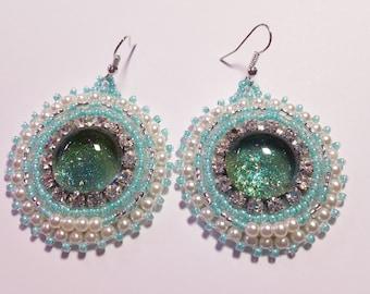 "Beaded Earrings ""Aqua Glimmer"""