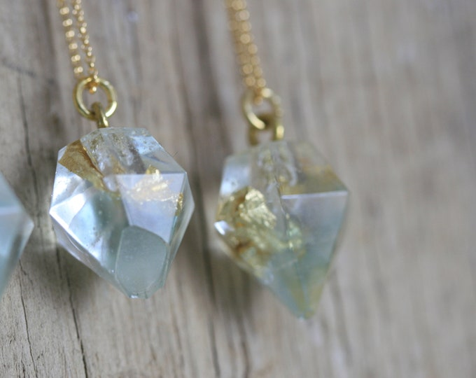Irish Seaglass & Clear Resin Necklace | Brass and Resin | Nautical Jewellery  | Jewelry | Geometric Jewellery