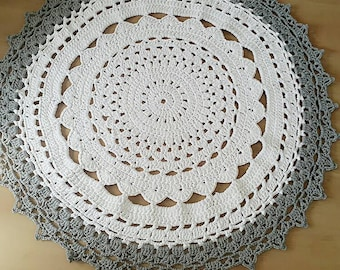 Crochet Dolly Rugs gray and white color