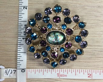 Vintage Gold Toned Blue Purple Rhinestone Abalone Shell Pin Brooch Used