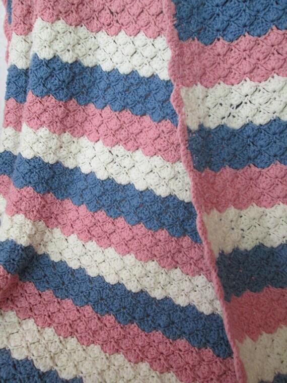 Afghan werfen Decke Damen FAN Muster Häkeln in Streifen in