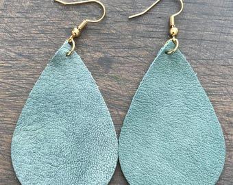 Robins Egg Blue Leather Teardrop Earring