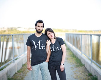 Matching Shirts for Couples, Mr and Mrs Tshirt Set, His and Hers Clothing Gift for Couples, Just Married Bride and Groom Wedding Gift