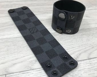Louis Vuitton (reworked) Handmade Bracelet | Cuff Bracelet | Wrist Cuff Band | Jewellery | Upcycle Jewelry | Fashion Cuff