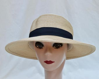 Beige Straw Hat With Black Ribbon Trim Larger Head Sizes Available/ Packable Crushable Lampshade Brim Sun Hat / Med, LG , XLG & XXL Sizes