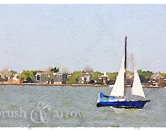 Sailboat art print, watercolor style image, instant digital download