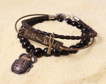 Personalized Egyptian Bracelet, Ancient Egyptian Jewelry, Custom Hieroglyphs Name, Ankh, Pharaoh Jewelry, Egyptian Bracelet, Custom Name