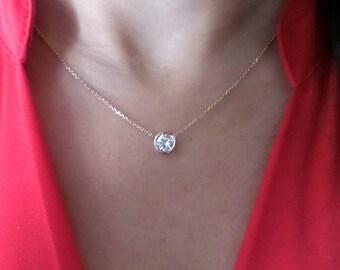 Diamond pendant etsy diamond pendant diamond solitaire necklace 075 ct 14k yellow gold diamond bezel set solitaire pendant 14k mozeypictures Image collections