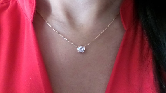 Diamond pendant diamond solitaire necklace 075 ct 14k yellow like this item mozeypictures Image collections