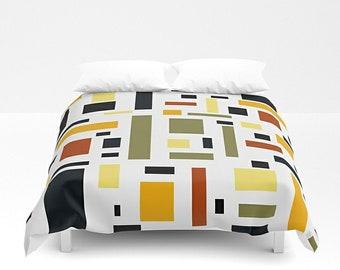 Duvet Cover, Geometric Bedding, King Duvet, Queen Bedding, Abstract  Bedroom, Queen