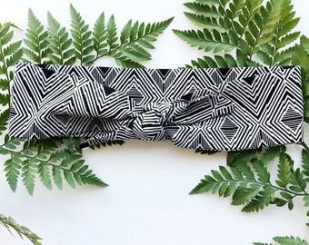 Black and White Tribal - Headband Headscarf Neckscarf Adult