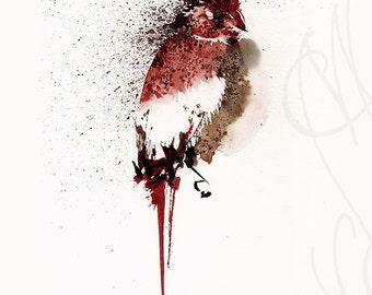 "Martinefa's Original watercolor and Ink Bird ""Piaf"""