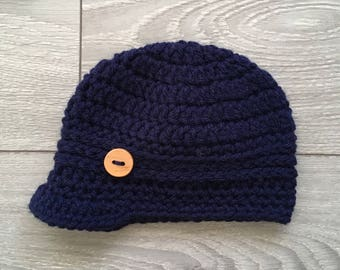 Ready to Ship - Navy Crochet Hat with Brim & Wooden Button - Newborn Size