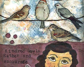 Mixed Media Collage Art Giclee Print - Kindreds