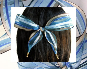 HAIR RIBBON-Blue & Brown Organza Hair Ribbons-Hair Accessories, Girl's Hair Ribbons, Women's Hair Ribbons, Blue Hair Bows, Bad Hair Days