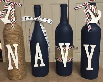 Wine bottle decor   Hand painted Navy decorated wine bottles