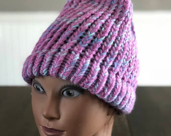 Child's mermaid color knitted hat