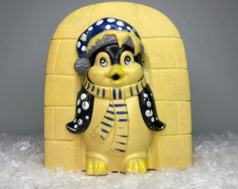 vintage hard plastic penguin and igloo container by Giftco