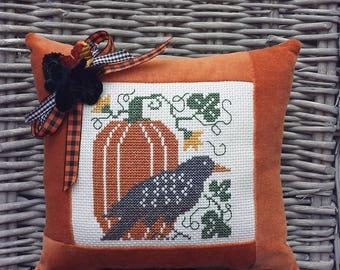 Pumpkin Crow Pillow Vintage Style Handmade Orange Velvet Ticking Cross Stitch Rustic Primitive Folk Art Harvest Autumn Halloween Decoration