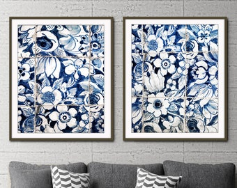 "Blue and white wall art, Lisbon Portugal tiles print, azulejos, print set of 2, photography set ""Lisbon Tiles 6 & 7"" floral wall art"