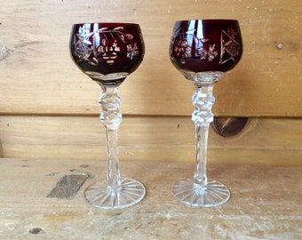 Vintage Ajka Bohemian Ruby Red Cut to Clear Cordial Glasses Set of 2 Excellent