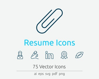 Resume Icon Set in Vector and PNG for web and print