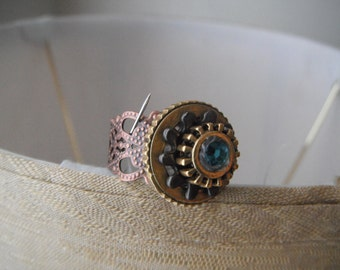Steampunk Geared up Adjustable ring (1) R5