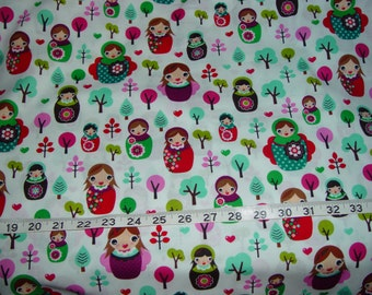 Svetlana's Forest Nesting Matryoshka Russian Dolls Fabric - 2 yards