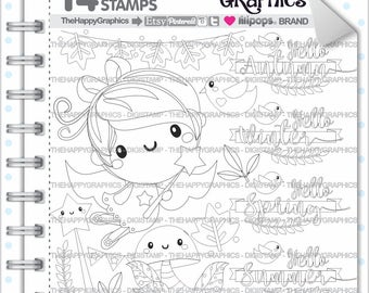 Fairy Stamp, 80%OFF, COMMERCIAL USE, Digi Stamp, Fairy Digistamp, Kawaii Stamps, Fairy Digital Stamps, Season Stamp, Fairy Digital Stamp