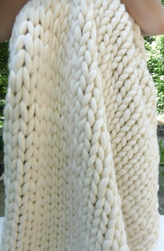 "Chunky Blanket, 50x70"", Merino Wool, Natural, Hand Knit, Extreme Knitting"