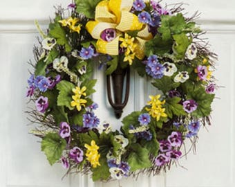 Spring Pansy Wreath, Spring Wreath, Door Wreath, Twig Wreath