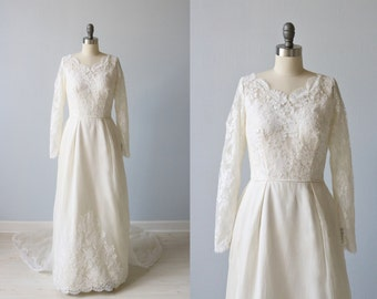 Vintage 1960s Long Sleeve Lace A Line Wedding Dress / 1960s Wedding Dress / Bustle Cathedral  Train / Emily